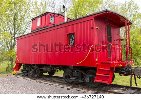 Old Red Wood Railroad Caboose - stock photo