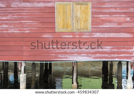 old red wood wall on house, background and texture