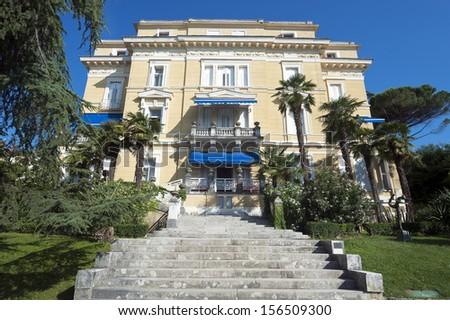 Old renovated house in Opatija Croatia - stock photo