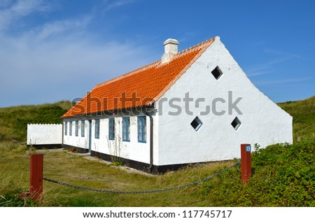 Old renovated white house in Skagen which is the very northern part of Denmark