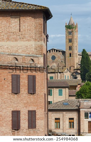 Old Residential and church in Siena,Tusany,Italy - stock photo