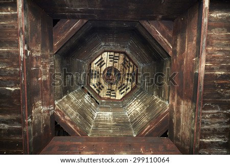Old residential building environment,gossip roof  - stock photo
