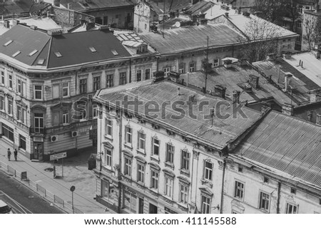 old residential building, residential quarters - stock photo