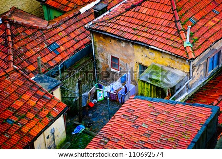 Old residential houses in Porto, Portugal - stock photo