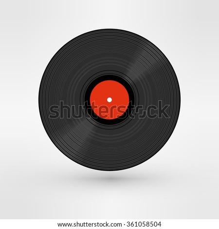 Old, retro black record, LP art image. isolated on white background - stock photo