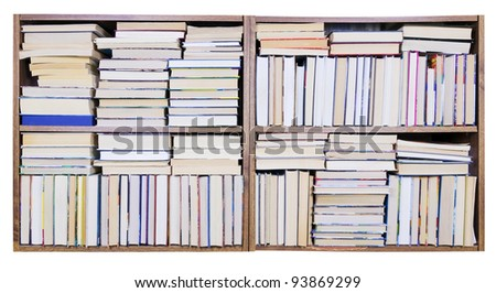 Old retro books on a wooden shelf  front view. Mass production, selective focus. Isolated with patch - stock photo