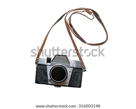 Old retro camera isolated on white background