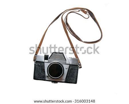 Old retro camera isolated on white background - stock photo