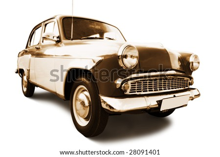 old retro car isolated on white background