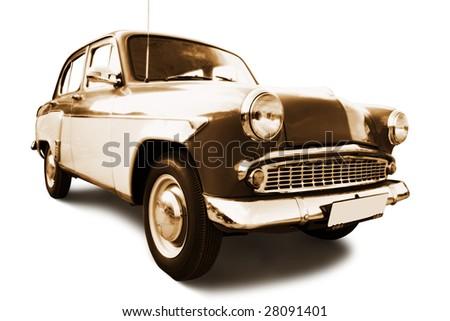 old retro car isolated on white background - stock photo