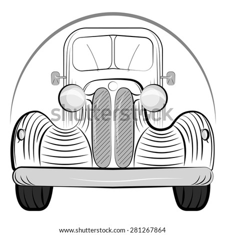 Old retro car side view vintage drawing style.  illustration  - stock photo