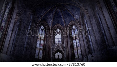 old retro church background in gothic style - stock photo