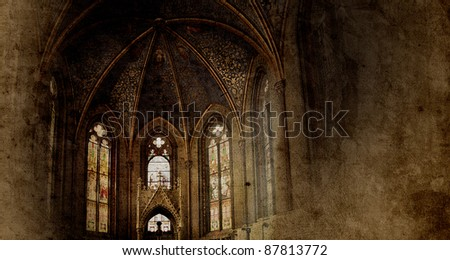 old retro church background in gothic style