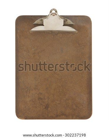 Old Retro Clipboard on a White Background - stock photo