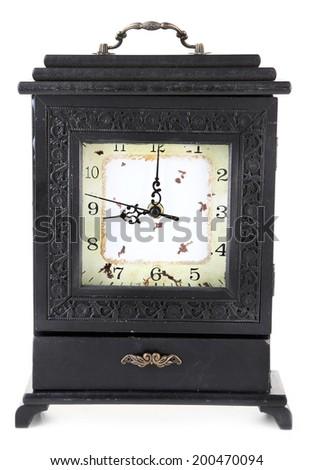 Old retro clock, isolated on white - stock photo
