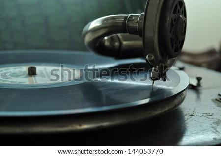Old retro gramophone - stock photo