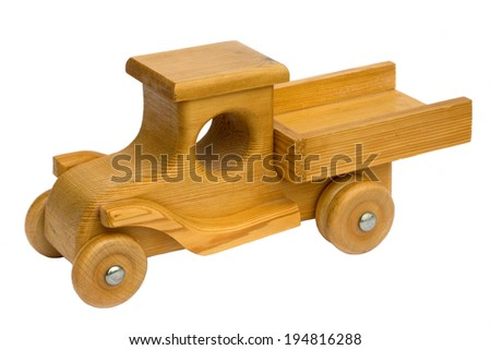 Old retro homemade wooden toy truck - stock photo