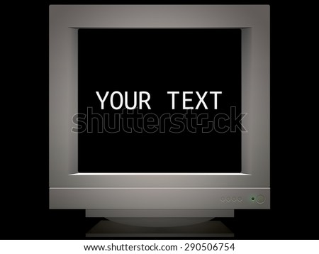 old retro monitor screen in background for presentation. place your text isolated on black - stock photo