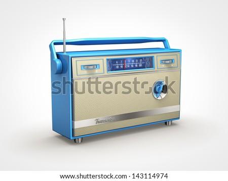 Old retro radio in perspective view - stock photo