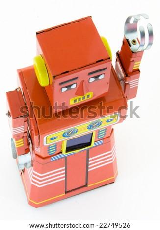 old retro robots toys - stock photo