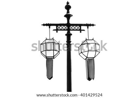 Old retro street Monochrome electricity lamp - stock photo