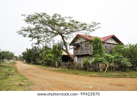 Old Retro Style Country Vintage House Thailand - stock photo