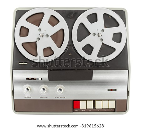 old retro tape recorder isolated on white background - stock photo