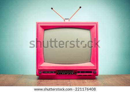 Old retro TV front gradient background - stock photo