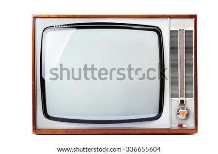 Old Retro Tv isolated on white background - stock photo