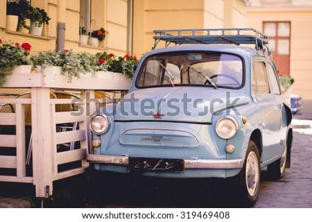 Old, retro, vintage, antique classic car, automobile, auto. Motor transport for drive, travel, transportation. Vintage effect style picture. - stock photo