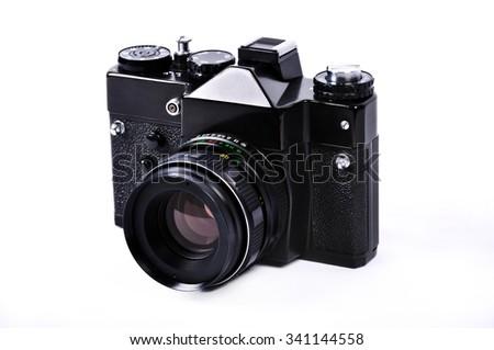 Old, retro, vintage  camera isolated on white background - stock photo
