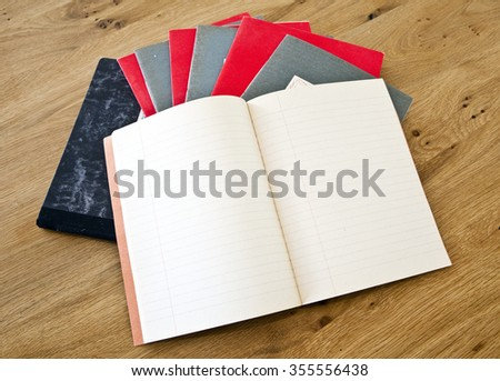 Old retro vintage paper books notebooks