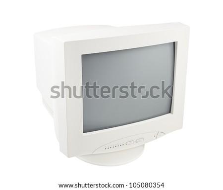 Old Retro Vintage Pc Crt Cathode Monitor Display isolated on white background - stock photo