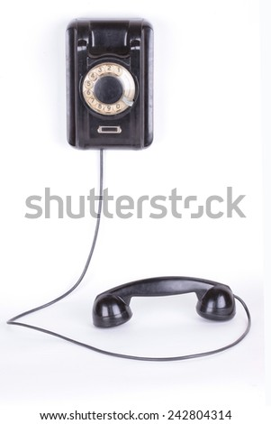 Old retro wall phone - stock photo