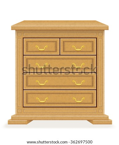 old retro wooden furniture chest of drawers illustration isolated on white background