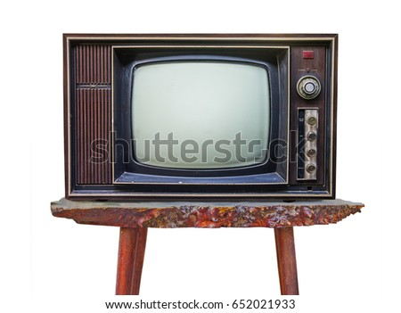 Old Retro Wooden Home TV Receiver On Old Wood Table Isolated On White  Background/ Vintage