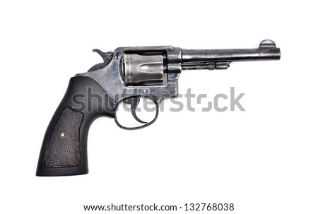 old revolver gun isolated on white background