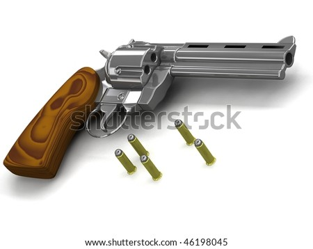 old revolver with ammunition - isolated 3d render on white