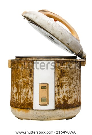 Old rice Cooker isolated on white background - stock photo