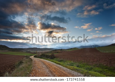 Old road at sunset