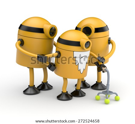 Old robot Cyclops with a crutch assisted by relatives - stock photo