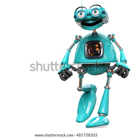 old robot just walking with space to input your text 3d illustration