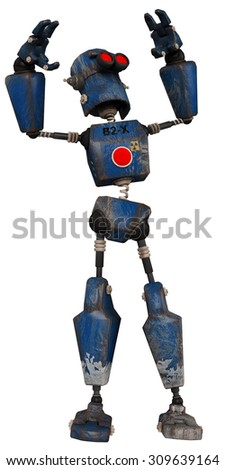 old robot looking to sky - stock photo