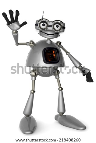 old robot wave - stock photo
