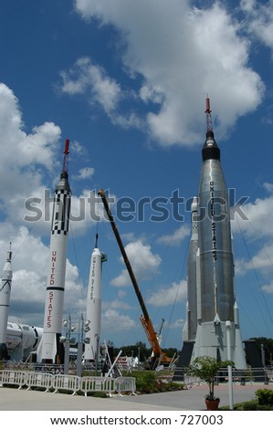 Old rockets at Kennedy space Center, Cape Canaveral, Florida - stock photo