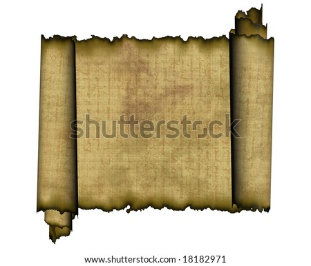 Old roll of papyrus isolated on white