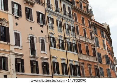 Old roman houses by Spanish steps in Rome  - stock photo