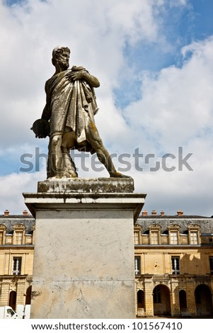 Old Roman sculpture at Fontainebleau palace, Ile-de-France, France