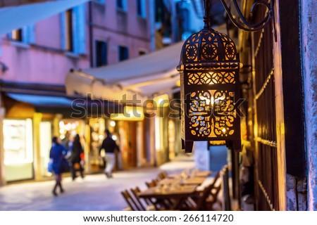 Old romantic street in Venice, Italy - stock photo