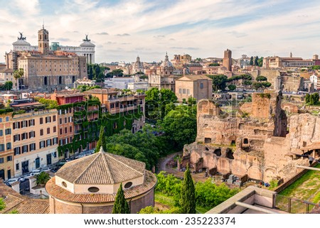 Old Rome cityscape with Roman Forum - stock photo